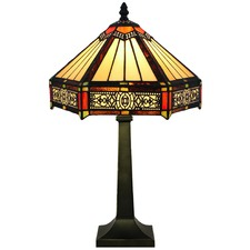Tiffany Six-Sided Style Stained Glass Table Lamp