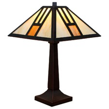 White Tiffany Mission Table Lamp
