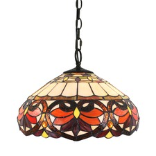 Red Victorian Tiffany-Style Pendant Light