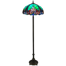 Green Victorian Tiffany Stained Glass Floor Lamp