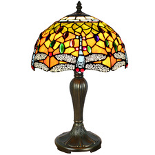 Yellow Dragonfly Tiffany Stained Glass Table Lamp