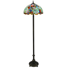 Floral Stained Tiffany Glass Floor Lamp