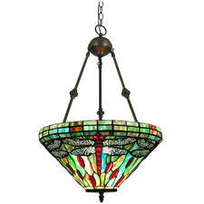Inverted Stained Tiffany Glass Pendant Light