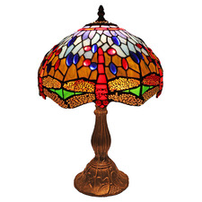 Blue Dragonfly Tiffany-Style 47cm Stained Glass Table Lamp
