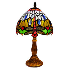 Blue Dragonfly Tiffany-Style 37cm Stained Glass Table Lamp