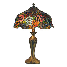 Roses with Multi-Jewels Tiffany-Style 57cm Stained Glass Table Lamp