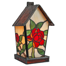 Floral Tiffany-Style Stained Glass Table Lamp