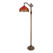 Red Dragonfly Downbridge Tiffany-Style Stained Glass Floor Lamp