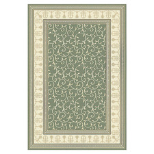 Green & Cream Vine Chateau Power-Loomed Rug