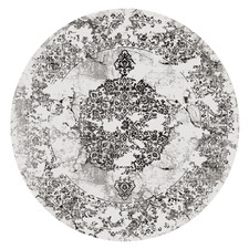 Grey Damask Aspire Round Rug