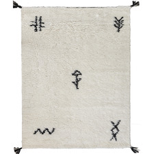 White Shaggy Azrou New Zealand Wool Rug