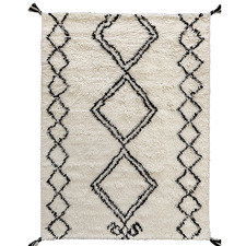 White Shaggy Sefrou New Zealand Wool Rug