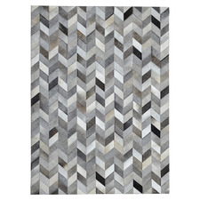 Neutral Patchwork Cowhide Contemporary Rug