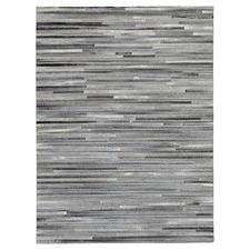 Grey Lines Patchwork Cowhide Rug
