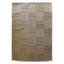 Natural Patchwork Cotton & Jute Rug