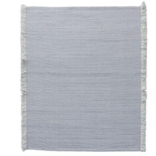 Light Grey Medina Fringed Wool-Blend Rug