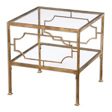 Genell Metal & Glass Cube Table