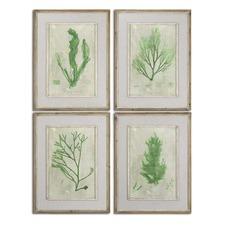 4 Piece Emerald Seaweed Wall Art Set