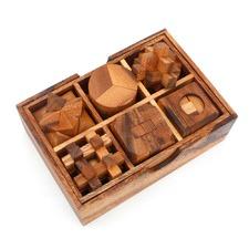 6 Piece Puzzle Deluxe Wooden Brainteaser Puzzle Gift Box Set (Set of 2)