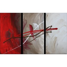 3 Piece Abstract Canvas Painting in White and Red