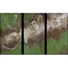 3 Piece Abstract Canvas Painting in Green and Brown