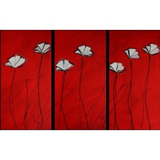 3 Piece Abstract Poppies Canvas Painting in Red