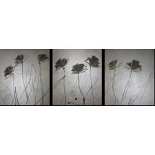 3 Piece Abstract Poppies Canvas Painting in Silver and Brown