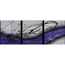 3 Abstract Canvas Painting in Purple and White