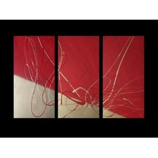 3 Piece Abstract Canvas Painting in Gold and Red