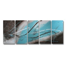 5 Piece Abstract Canvas Painting in Turquoise and Brown