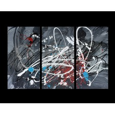 3 Piece Abstract Canvas Painting in Grey / Black