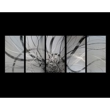 5 Piece Abstract Canvas Painting in Silver