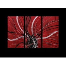 3 Piece Abstract Canvas Painting in Red / Black