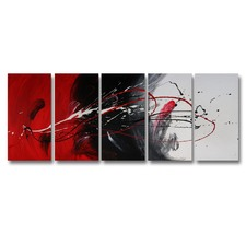5 Piece Abstract Canvas Painting Red