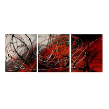 3 Piece Abstract Canvas Painting in Red