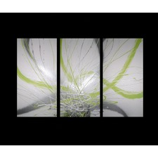 3 Piece Abstract Canvas Painting in Lime Green and White