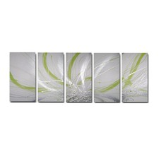 150 cm Abstract Canvas Painting in Silver