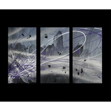 3 Piece Abstract Canvas Painting in Silver and Grey