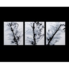 3 Piece Abstract Canvas Painting in Black / White