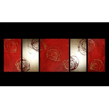 5 Piece Abstract Canvas Painting in Red and Gold