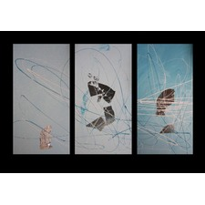 3 Piece Abstract Canvas Painting in Aqua Turquoise