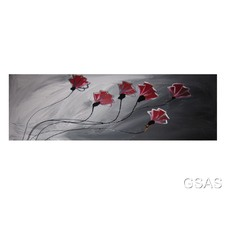Abstract Poppies Canvas Painting in Red