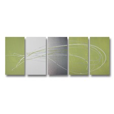 5 Piece Abstract Canvas Painting in Lime Green