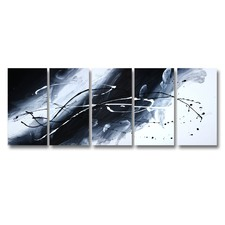 5 Piece Abstract Canvas Painting in Black / White