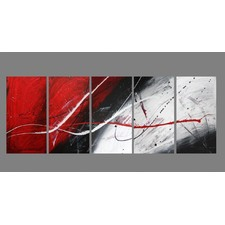 5 Piece Abstract Canvas Painting in Red