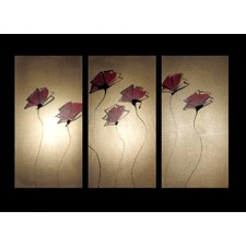 3 Piece Abstract Poppies Canvas Painting in Gold