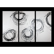 3 Piece Abstract Canvas Painting in White and Silver