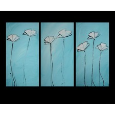 3 Piece Abstract Poppies Canvas Painting in Turquoise