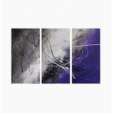 3 Piece Abstract Canvas Painting in Grey and Purple