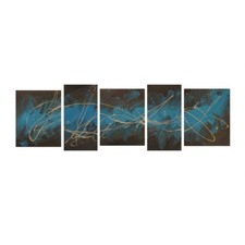 Abstract Canvas Painting in Turquoise / Gold